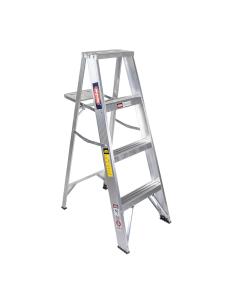 Escalera de aluminio tipo tijera con porta herramientas 3 escalones