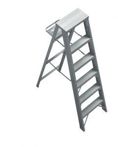 Escalera de Aluminio tipo tijera con porta herramientas 5 escalones