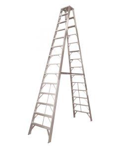 Escalera de tijera doble plegable reforzada 18 escalones